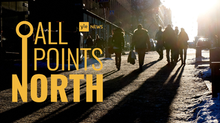 Audio: Yle News' All Points North podcast logo featuring photo of pedestrians in Helsinki.