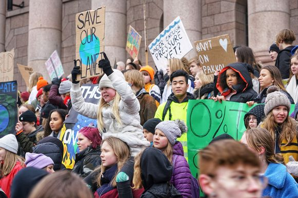 Students went on strike in Helsinki on Friday 15 March 2019 to protest against climate change.