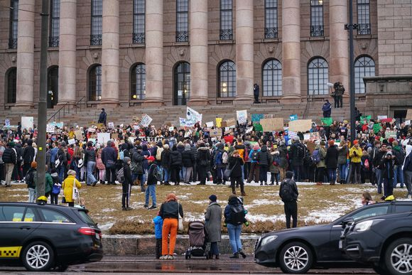 Finnish children went on strike on 15 March 2019 to protest inaction over climate change.