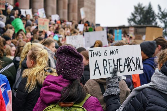 Finnish young people joined a global climate strike on 15 March 2019. This banner says 'This is not a rehearsal'.