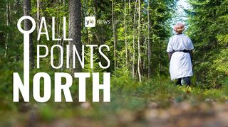 Audio: Yle News' All Points North podcast logo featuring photo of woman in forest.