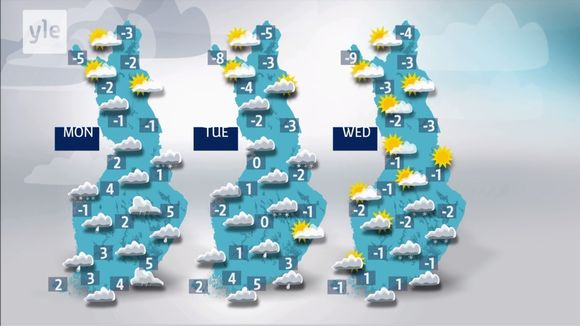 Overview of Yle weather forecast April 8-10.