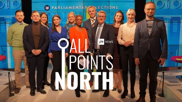 Video: Group photo of Yle News debate participants and hosts, from 25 March, 2019 and All Points North logo.