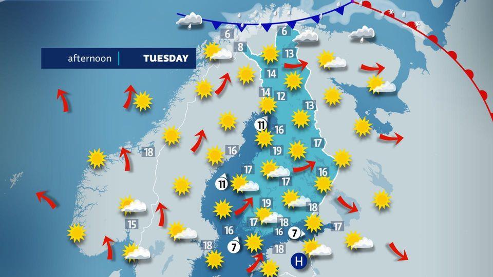Summer-like start to week in Finland