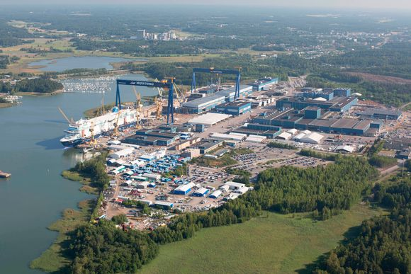 Aerial photo of Meyer Turku Shipyard.