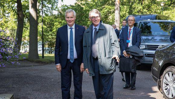 Finnish Prime Minister Antti Rinne and European Parliament President David Sassoli in Helsinki on 6 September 2019.
