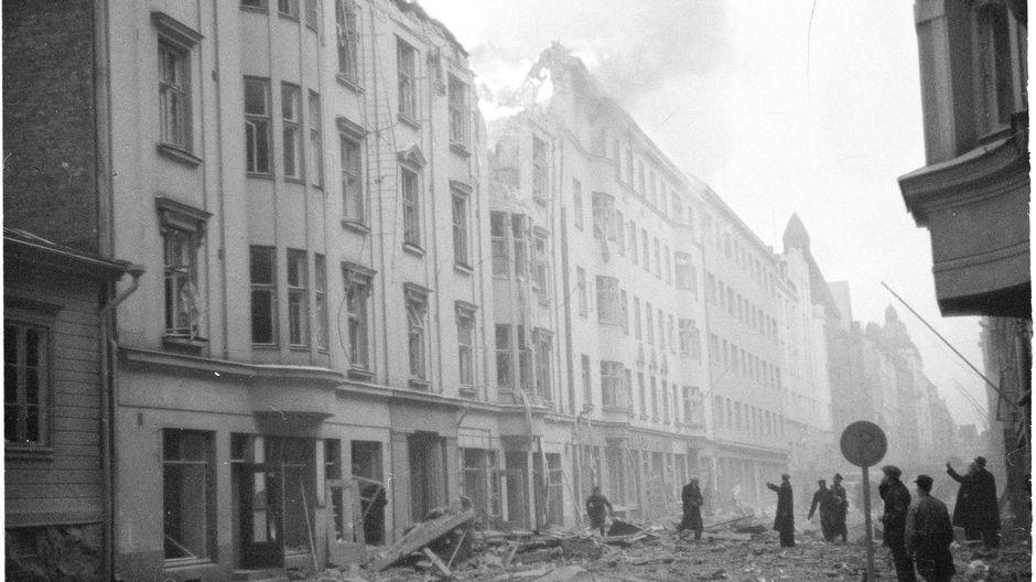 Damage from a Soviet bombing raid in Helsinki.