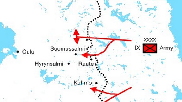 The Soviet ground offensive from 30 November to 22 December 1939 displayed in red.