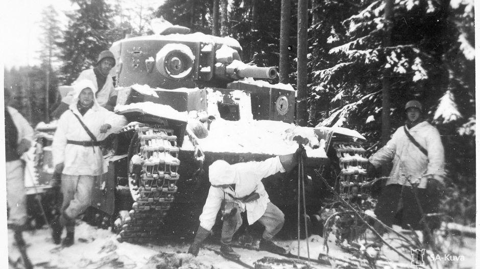 A captured Soviet T-28 tank.
