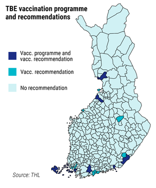 TBE vaccination programme and recommendations Vacc. programme and vacc. recommendation Vacc. recommendation No recommendation Source: THL