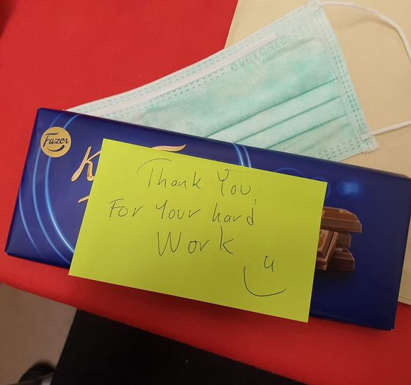 A present the office staff left for Slavica Mijatovic in recognition of her cleaning work.