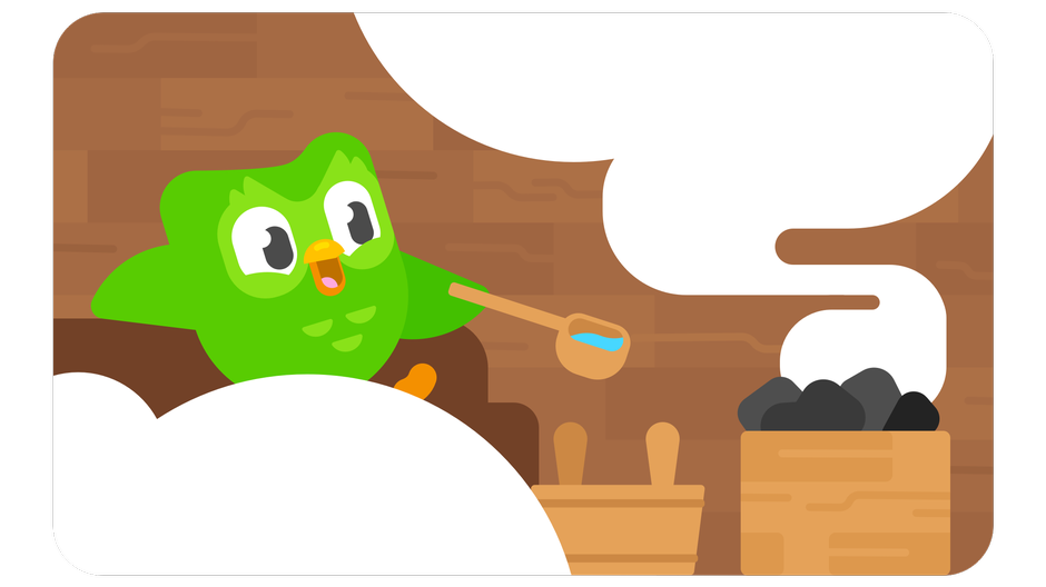 Duolingo bird in the sauna