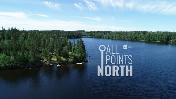 All Points North podcast logo featuring aerial photo of Finnish lake