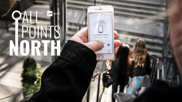 All Points North podcast logo featuring Finland's coronavirus tracing app in use at shopping mall