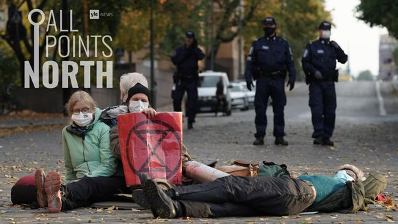 All Points North podcast logo featuring photo of Extinction Rebellion protesters on Saturday 3 October, 2020.
