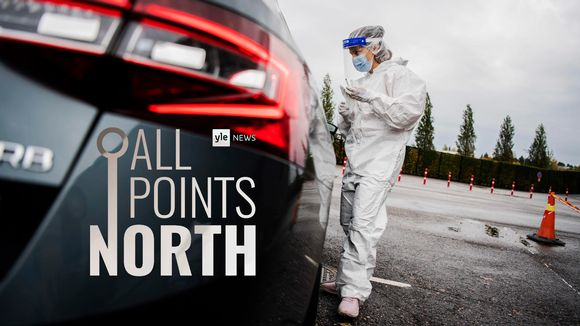 All Points North podcast logo feature photo of drive-in Covid testing site in Helsinki in October 2020.