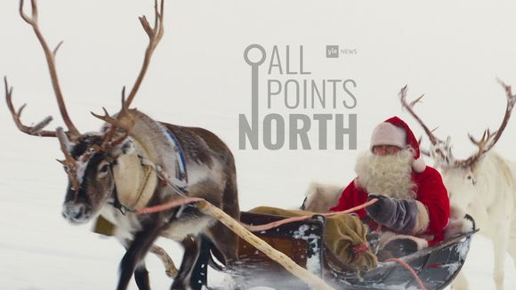 All Points North podcast logo featuring photo of Santa Claus taken in Lapland 2019.