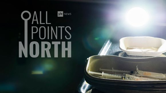 Photo of vaccine kit featuring Yle News' All Points North Podcast logo