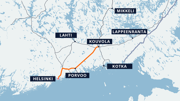 Proposed new route from Helsinki via Porvoo to Kouvola.