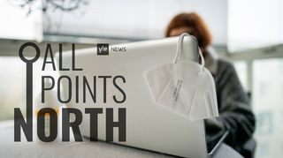 All Points North Podcast logo featuring photo of woman at laptop computer.