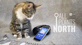 All Points North podcast logo featuring photo of cat looking at smartphone and headphones.
