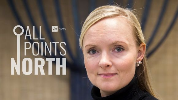 Photo of Green Party chair Maria Ohisalo, featuring All Points North podcast logo.