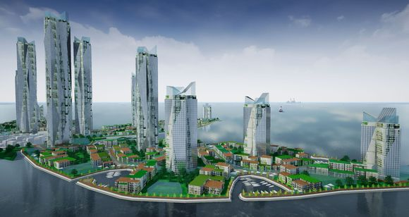 Rendering of buildings on artificial island on Gulf of Finland planned by Finest Bay Area Development.