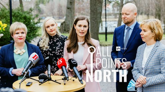 Photo of Prime Minister Sanna Marin (in middle) and members of her government featuring All Points North podcast logo.