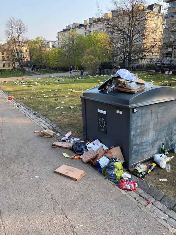 Rubbish strewn across Sinebrychoff Park in Helsinki.