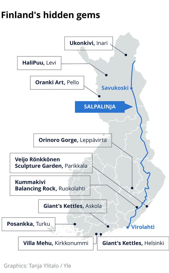 A map of Finland's 'hidden gems'.