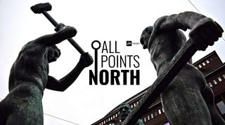 Photo of the Three Blacksmiths statue in Helsinki featuring the All Points North podcast logo