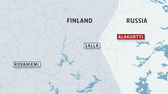 Kartta Suomen ja Venäjän rajasta.