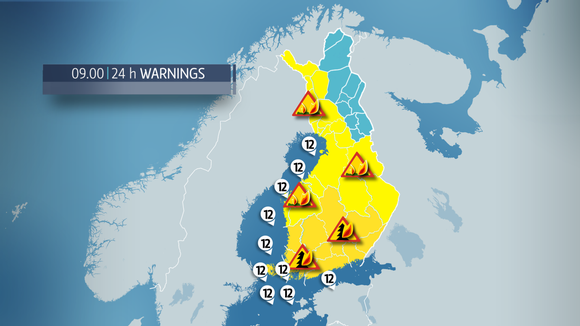A forest fire warning has been issued for most of the country.
