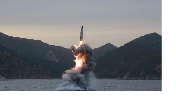 Submarine launch of a North Korean missile.