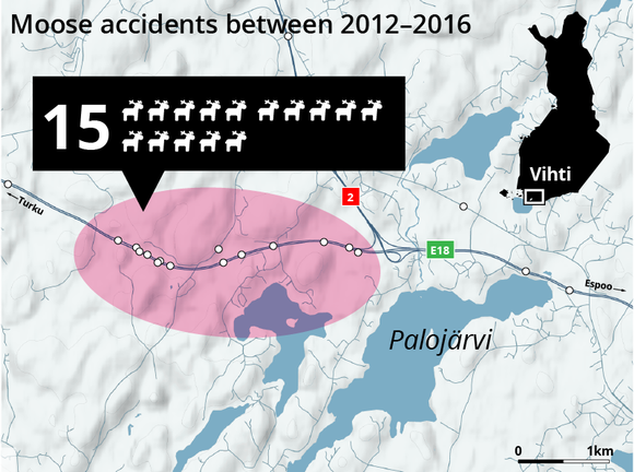 Moose accidents between 2012-2016: Vihti
