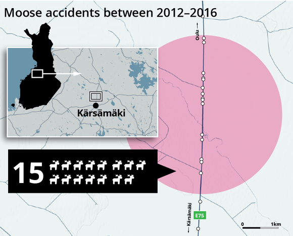 Moose accidents between 2012-2016: Kärsämäki