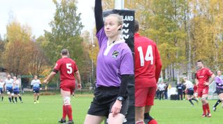 Alhambra Nievas became the first female to referee a men's rugby international in Helsinki on Saturday.
