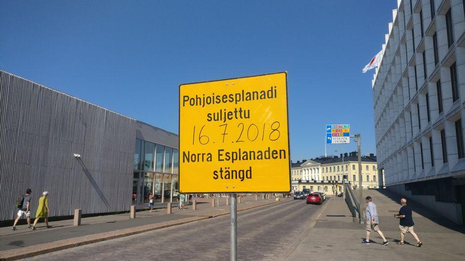 pohjoisesplanadi suljettu