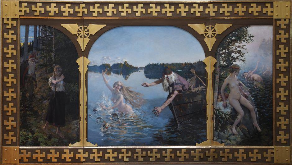 Akseli Gallen-Kallela: Aino-triptyykki, 1889. Öljy kankaalle, 210 x 371 cm, Suomen Pankin taidekokoelma.