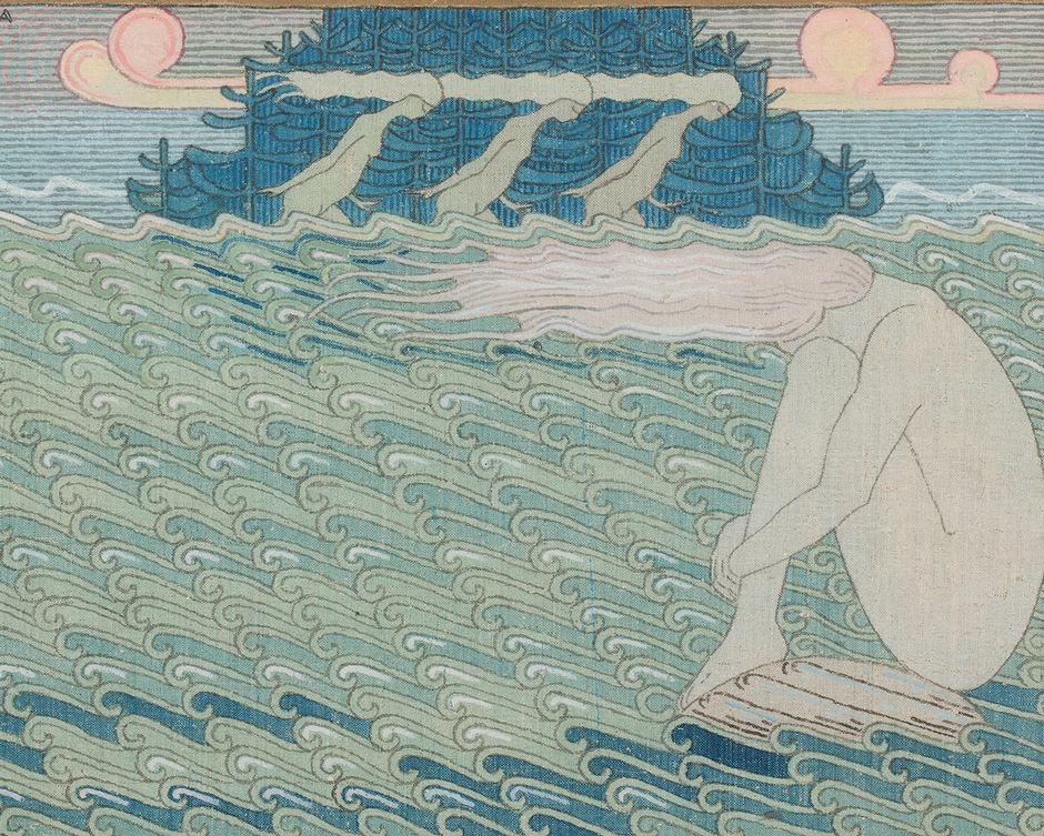 Joseph Alanen: Sammon taonta, 1910–1911, tempera, kulta- ja hopeamaali kankaalle 58 x 74 cm.