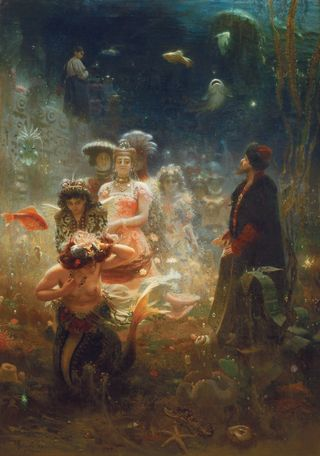 lja Repin: Sadko vedenalaisessa valtakunnassa (1876). Venäläisen taiteen museo. Venäläisen taiteen museo, Pietari