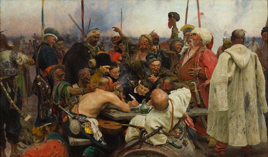 Ilja Repin: Zaporogit kirjoittamassa pilkkakirjettä Turkin sulttaanille (1880–1891). Venäläisen taiteen museo.