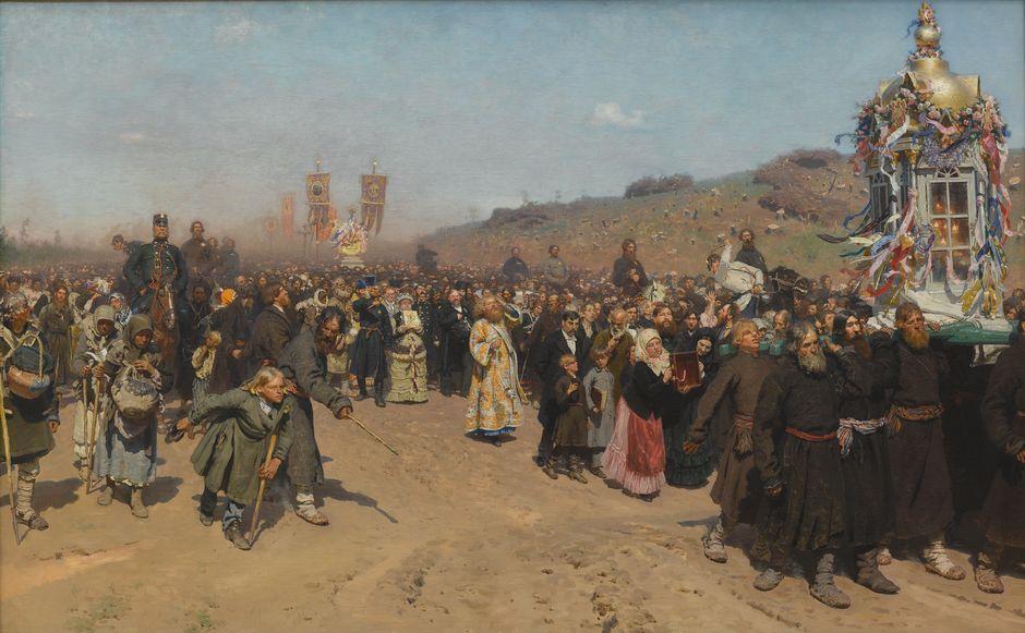 Ilja Repin: Ristisaatto Kurskin kuvernementissa (1881–1883). Tretjakovin galleria.