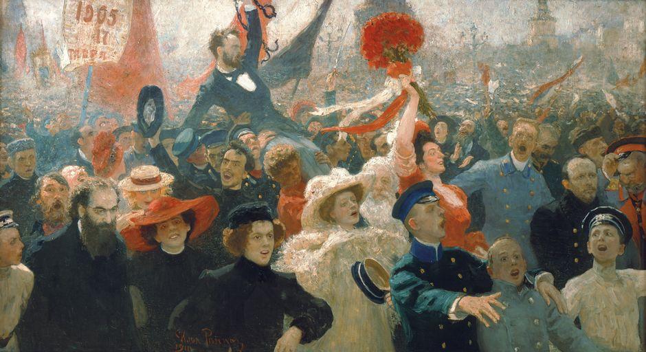 Ilja Repin: Mielenosoitus lokakuun 17. päivänä vuonna 1905 (1907–1911). Venäläisen taiteen museo, Pietari. Kuva © State Russian Museum, St. Petersburg.