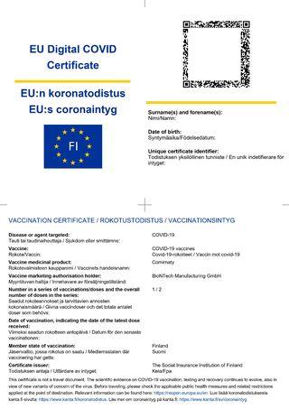 eurooppalainen koronatodistus european green certificate covid omakanta suomi finland