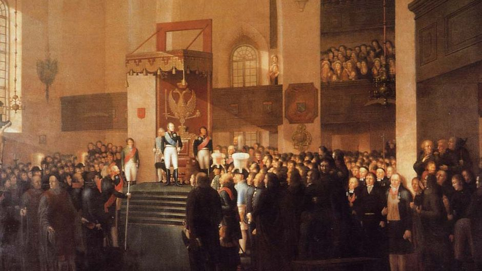 "Emanuel Thelningin ""Porvoon valtiopäivien avajaiset 1809"" , (1812)"