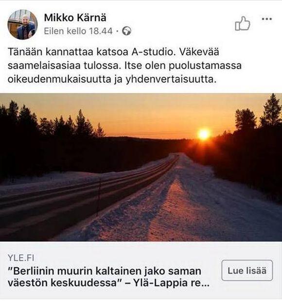 Mikko Kärnä ávžžuha geahččat A-studio