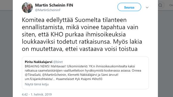 Govva váldojuvvon olmmošvuoigatvuođaprofessor Martin Scheinin Twitter-siiddus.