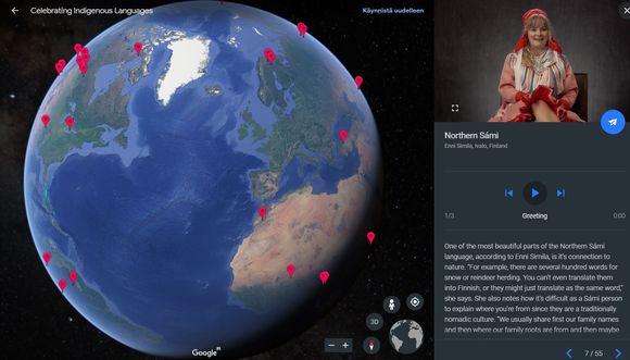 Google Earth bokte sáhttá oahpásnuvvat eamiálbmotgielaide.
