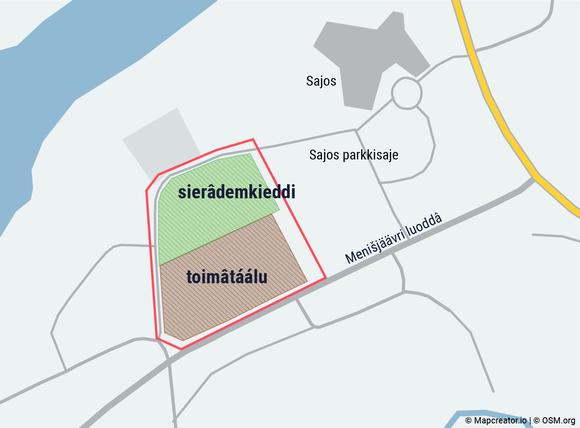 Inarin kirkonkylästä kartta, jossa näkyy suunniteltu asemakaava Sajoksen lähellä olevalle alueelle Kiiaanpuistoon. Menesjärventien viereiselle osalle suunnitellaan rakennuksia.